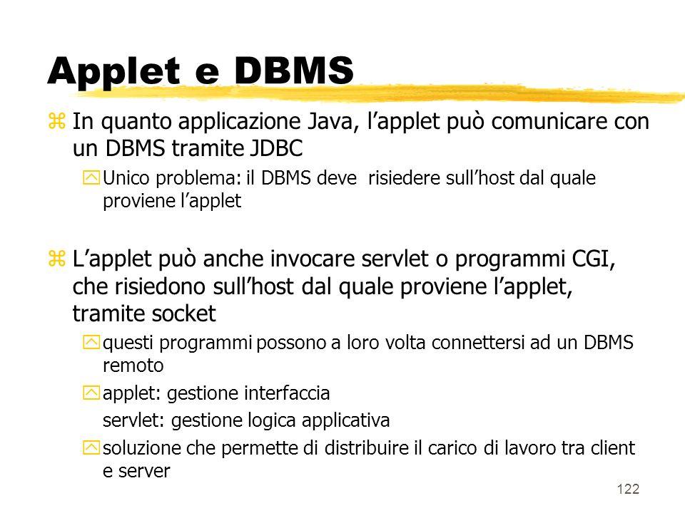 122 Applet e DBMS zIn quanto applicazione Java, lapplet può comunicare con un DBMS tramite JDBC yUnico problema: il DBMS deve risiedere sullhost dal q