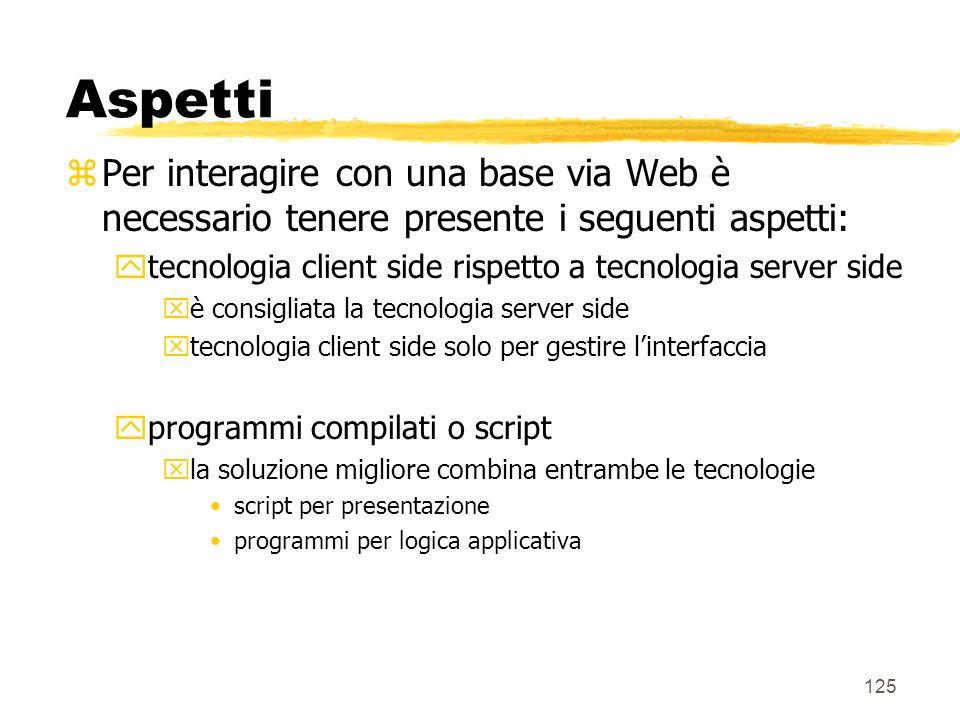 125 Aspetti zPer interagire con una base via Web è necessario tenere presente i seguenti aspetti: ytecnologia client side rispetto a tecnologia server