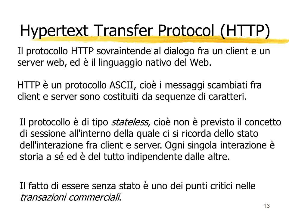 13 Il protocollo HTTP sovraintende al dialogo fra un client e un server web, ed è il linguaggio nativo del Web. HTTP è un protocollo ASCII, cioè i mes