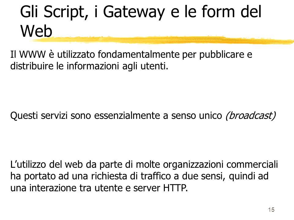 15 Il WWW è utilizzato fondamentalmente per pubblicare e distribuire le informazioni agli utenti. Questi servizi sono essenzialmente a senso unico (br