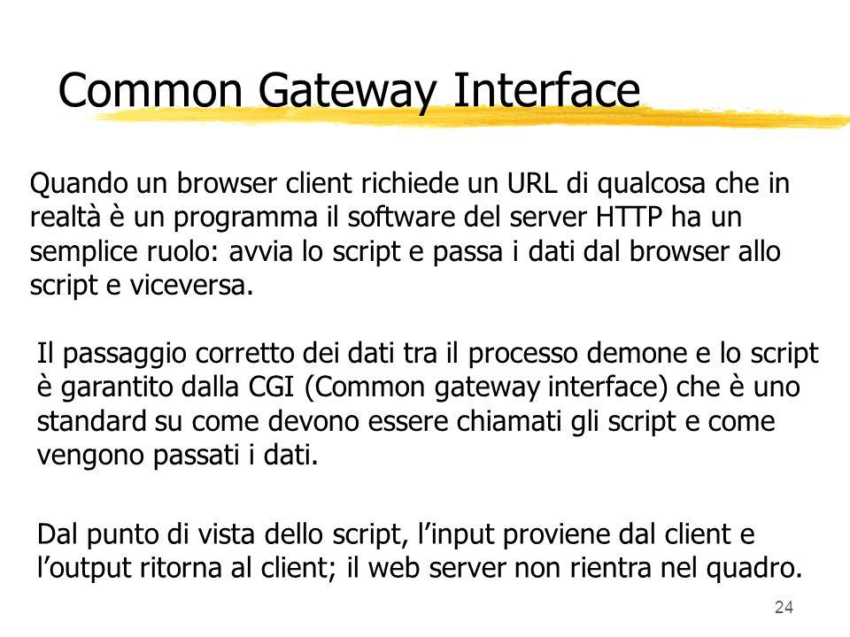24 Quando un browser client richiede un URL di qualcosa che in realtà è un programma il software del server HTTP ha un semplice ruolo: avvia lo script