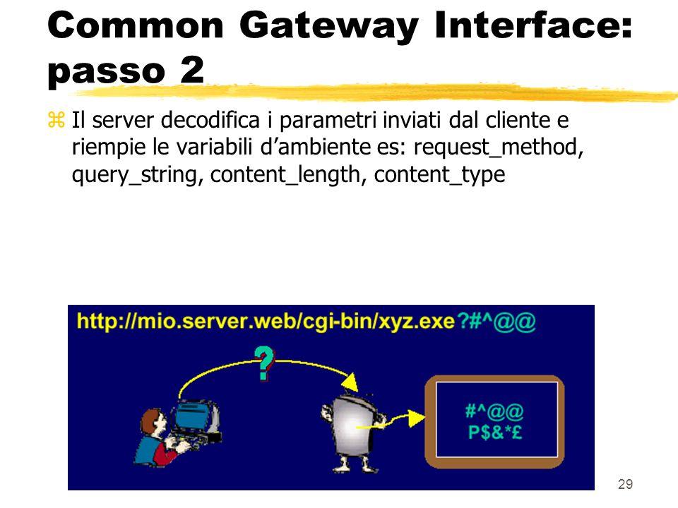 29 Common Gateway Interface: passo 2 zIl server decodifica i parametri inviati dal cliente e riempie le variabili dambiente es: request_method, query_