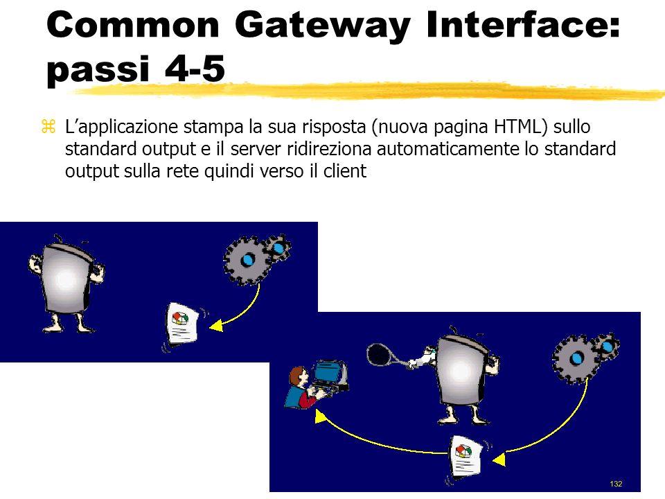 31 Common Gateway Interface: passi 4-5 zLapplicazione stampa la sua risposta (nuova pagina HTML) sullo standard output e il server ridireziona automat