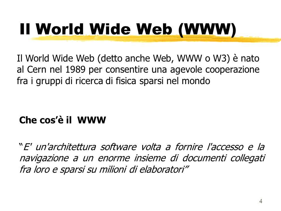 4 Il World Wide Web (detto anche Web, WWW o W3) è nato al Cern nel 1989 per consentire una agevole cooperazione fra i gruppi di ricerca di fisica spar