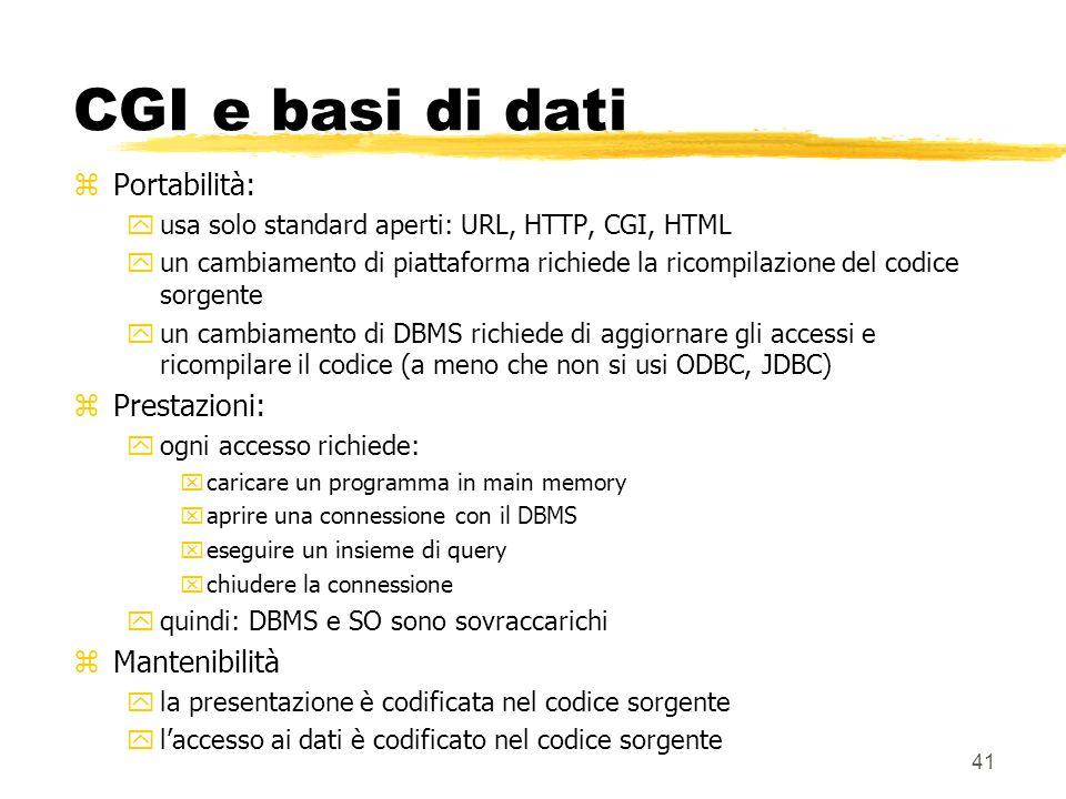 41 CGI e basi di dati zPortabilità: yusa solo standard aperti: URL, HTTP, CGI, HTML yun cambiamento di piattaforma richiede la ricompilazione del codi