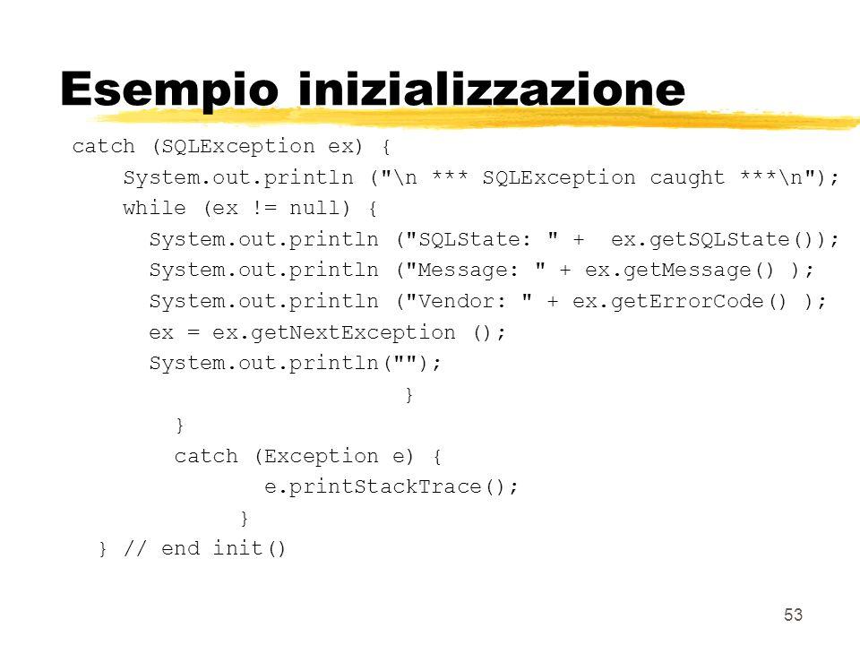 53 Esempio inizializzazione catch (SQLException ex) { System.out.println (