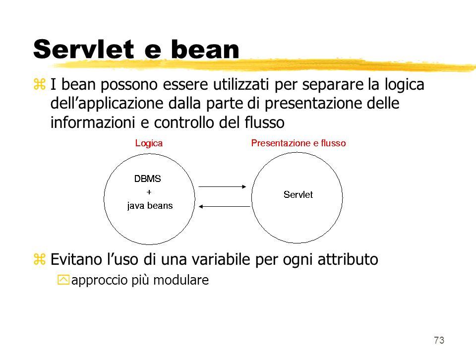 73 Servlet e bean zI bean possono essere utilizzati per separare la logica dellapplicazione dalla parte di presentazione delle informazioni e controll