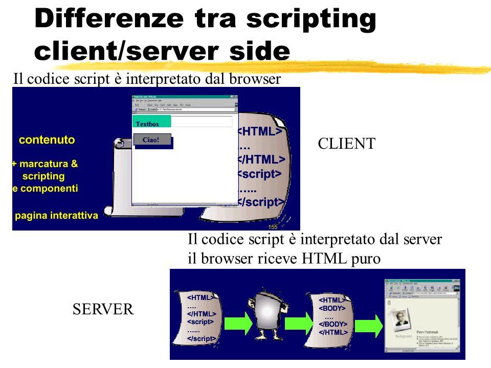 77 Differenze tra scripting client/server side Il codice script è interpretato dal browser CLIENT Il codice script è interpretato dal server il browse