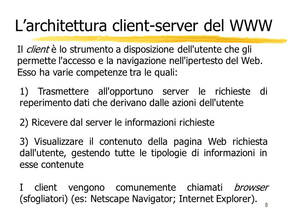 8 Il client è lo strumento a disposizione dell'utente che gli permette l'accesso e la navigazione nell'ipertesto del Web. Esso ha varie competenze tra