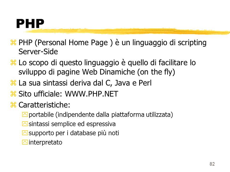 82 PHP zPHP (Personal Home Page ) è un linguaggio di scripting Server-Side zLo scopo di questo linguaggio è quello di facilitare lo sviluppo di pagine