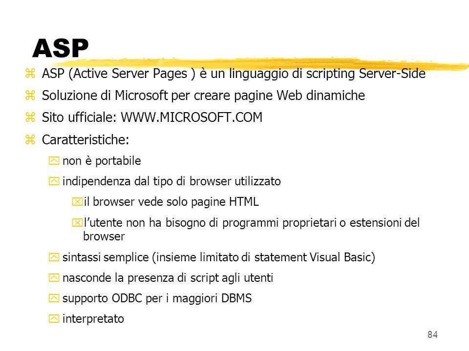 84 ASP zASP (Active Server Pages ) è un linguaggio di scripting Server-Side zSoluzione di Microsoft per creare pagine Web dinamiche zSito ufficiale: W