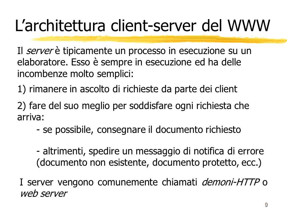 9 Il server è tipicamente un processo in esecuzione su un elaboratore. Esso è sempre in esecuzione ed ha delle incombenze molto semplici: 1) rimanere