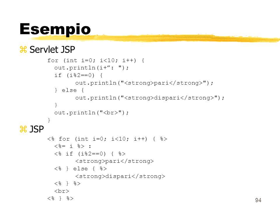 94 Esempio zServlet JSP for (int i=0; i<10; i++) { out.println(i+: