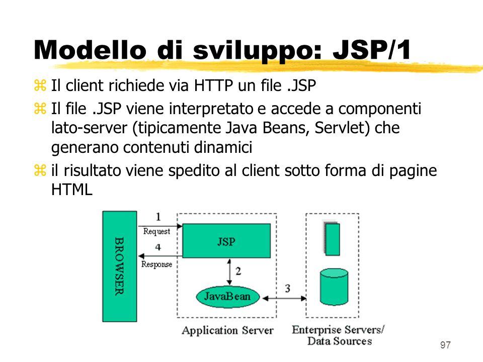97 Modello di sviluppo: JSP/1 zIl client richiede via HTTP un file.JSP zIl file.JSP viene interpretato e accede a componenti lato-server (tipicamente