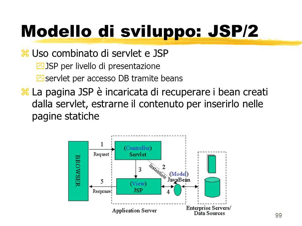 99 Modello di sviluppo: JSP/2 zUso combinato di servlet e JSP yJSP per livello di presentazione yservlet per accesso DB tramite beans zLa pagina JSP è