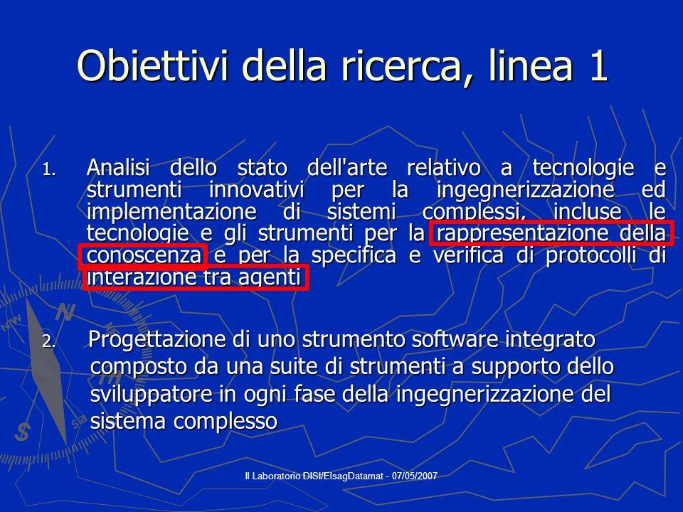 Il Laboratorio DISI/ElsagDatamat - 07/05/2007 Obiettivi della ricerca, linea 1 1.
