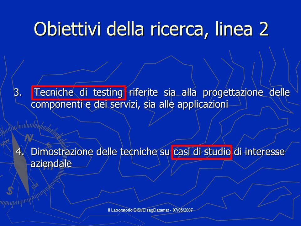 Il Laboratorio DISI/ElsagDatamat - 07/05/2007 Obiettivi in sintesi, linea 1 Agenti intelligenti e MAS (Sistemi Multiagente) Ontologie Ontologie
