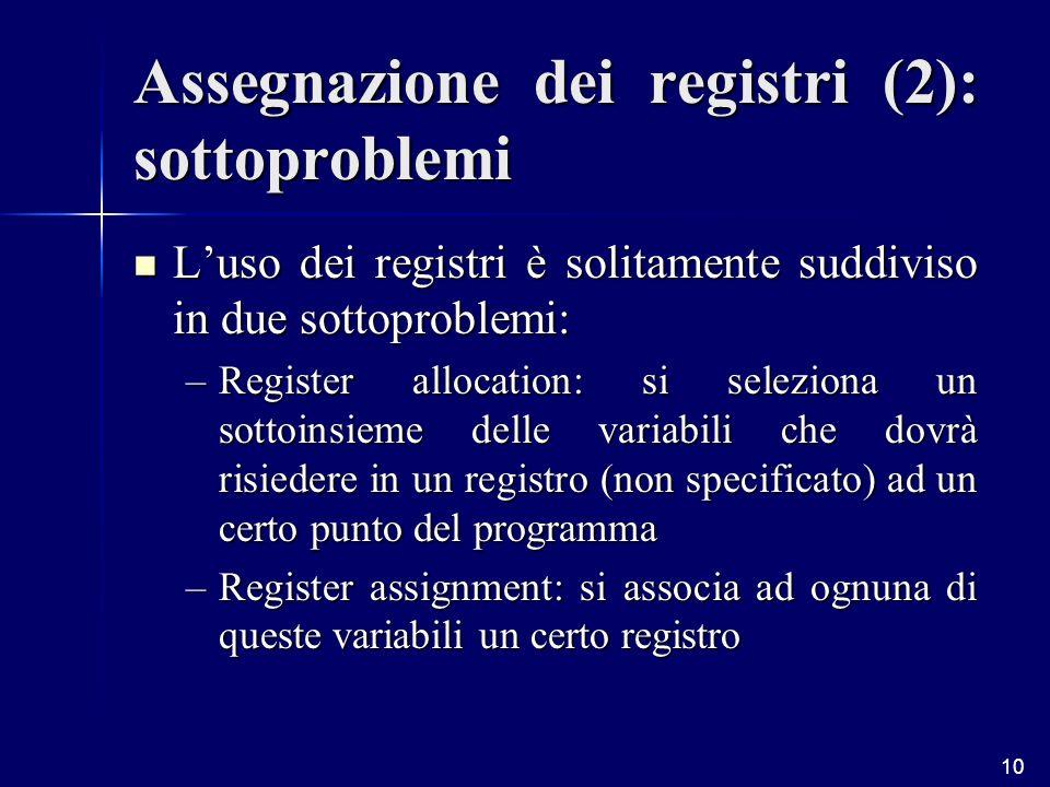 10 Assegnazione dei registri (2): sottoproblemi Luso dei registri è solitamente suddiviso in due sottoproblemi: Luso dei registri è solitamente suddiviso in due sottoproblemi: –Register allocation: si seleziona un sottoinsieme delle variabili che dovrà risiedere in un registro (non specificato) ad un certo punto del programma –Register assignment: si associa ad ognuna di queste variabili un certo registro