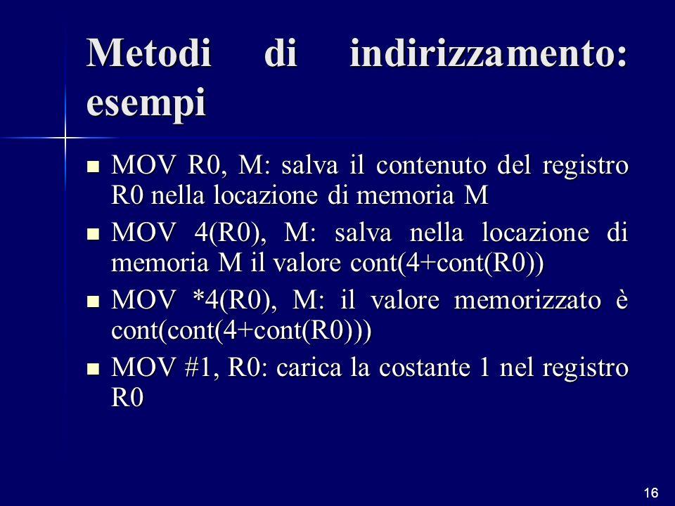 16 Metodi di indirizzamento: esempi MOV R0, M: salva il contenuto del registro R0 nella locazione di memoria M MOV R0, M: salva il contenuto del registro R0 nella locazione di memoria M MOV 4(R0), M: salva nella locazione di memoria M il valore cont(4+cont(R0)) MOV 4(R0), M: salva nella locazione di memoria M il valore cont(4+cont(R0)) MOV *4(R0), M: il valore memorizzato è cont(cont(4+cont(R0))) MOV *4(R0), M: il valore memorizzato è cont(cont(4+cont(R0))) MOV #1, R0: carica la costante 1 nel registro R0 MOV #1, R0: carica la costante 1 nel registro R0