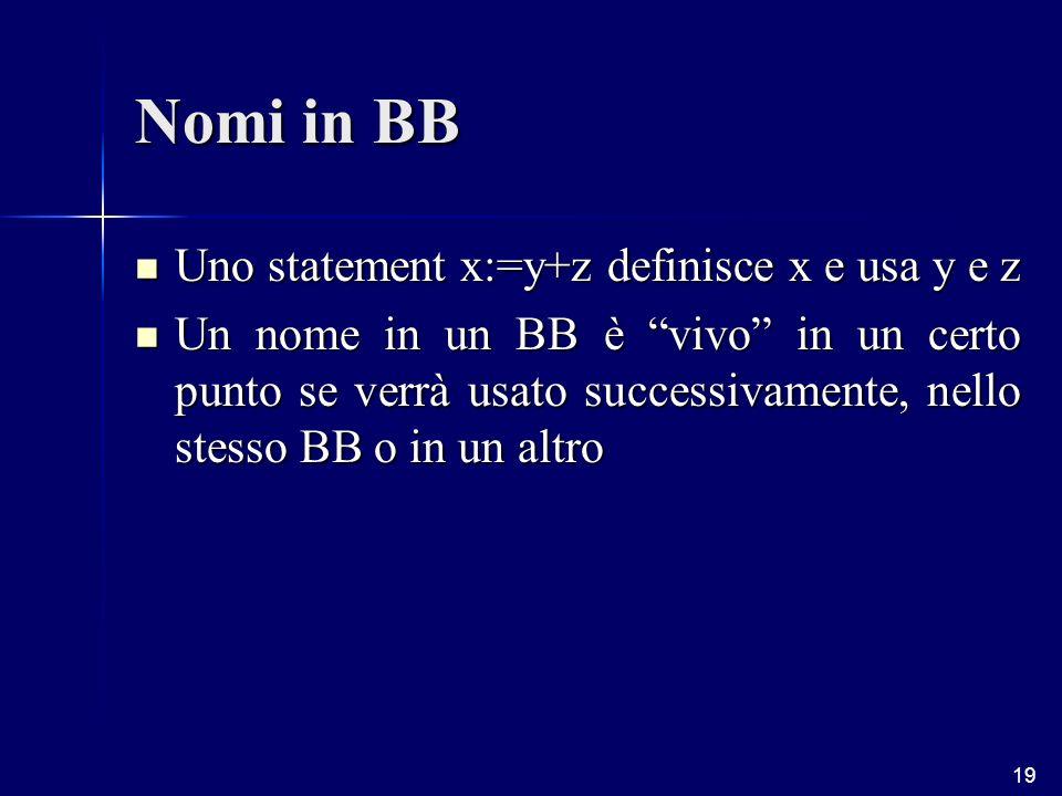 19 Nomi in BB Uno statement x:=y+z definisce x e usa y e z Uno statement x:=y+z definisce x e usa y e z Un nome in un BB è vivo in un certo punto se verrà usato successivamente, nello stesso BB o in un altro Un nome in un BB è vivo in un certo punto se verrà usato successivamente, nello stesso BB o in un altro
