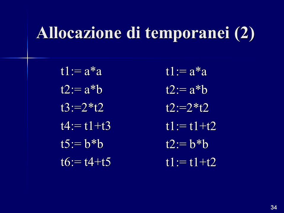 34 Allocazione di temporanei (2) t1:= a*a t2:= a*b t3:=2*t2 t4:= t1+t3 t5:= b*b t6:= t4+t5 t1:= a*a t2:= a*b t2:=2*t2 t1:= t1+t2 t2:= b*b t1:= t1+t2