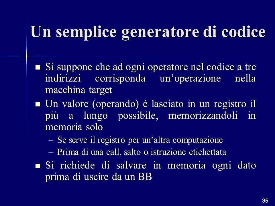 35 Un semplice generatore di codice Si suppone che ad ogni operatore nel codice a tre indirizzi corrisponda unoperazione nella macchina target Si suppone che ad ogni operatore nel codice a tre indirizzi corrisponda unoperazione nella macchina target Un valore (operando) è lasciato in un registro il più a lungo possibile, memorizzandoli in memoria solo Un valore (operando) è lasciato in un registro il più a lungo possibile, memorizzandoli in memoria solo –Se serve il registro per unaltra computazione –Prima di una call, salto o istruzione etichettata Si richiede di salvare in memoria ogni dato prima di uscire da un BB Si richiede di salvare in memoria ogni dato prima di uscire da un BB