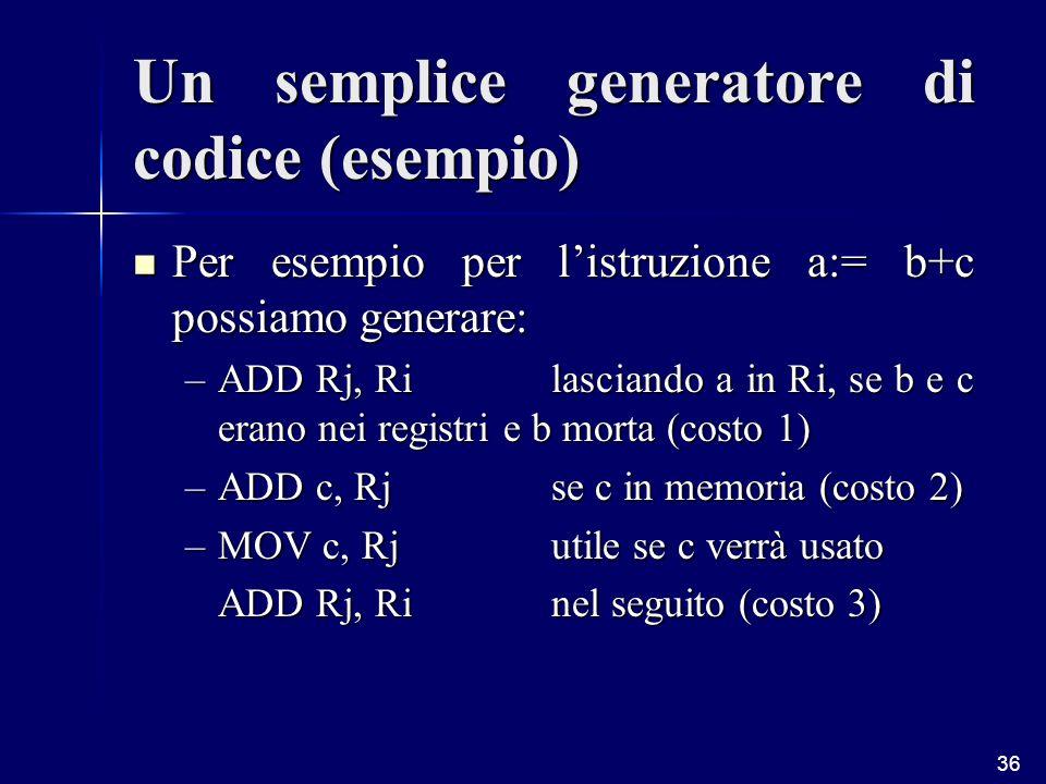 36 Un semplice generatore di codice (esempio) Per esempio per listruzione a:= b+c possiamo generare: Per esempio per listruzione a:= b+c possiamo generare: –ADD Rj, Rilasciando a in Ri, se b e c erano nei registri e b morta (costo 1) –ADD c, Rjse c in memoria (costo 2) –MOV c, Rjutile se c verrà usato ADD Rj, Rinel seguito (costo 3)