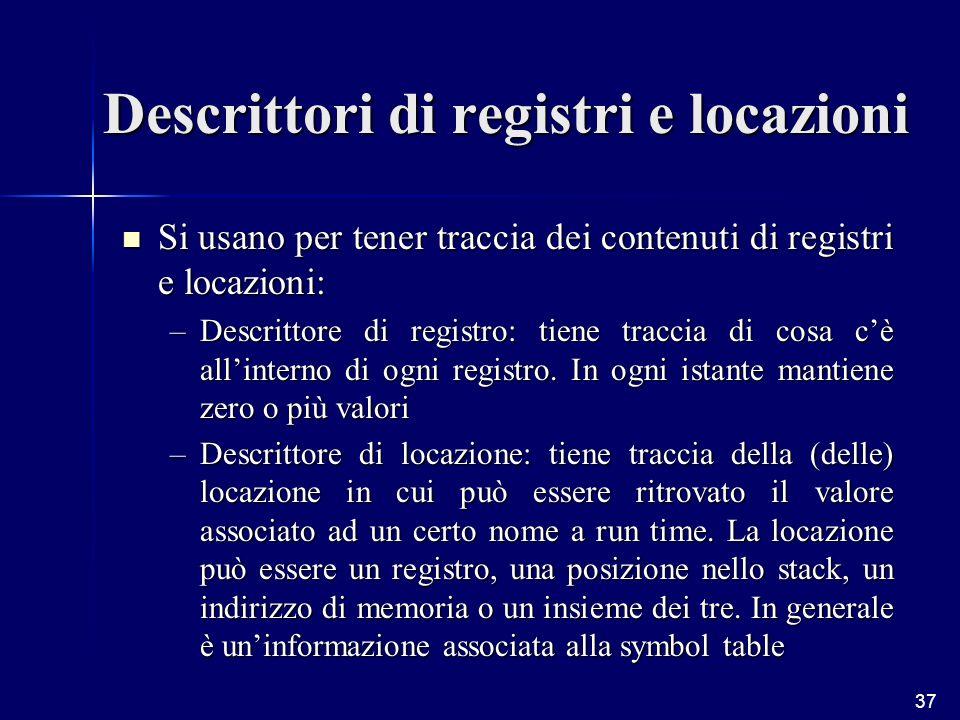 37 Descrittori di registri e locazioni Si usano per tener traccia dei contenuti di registri e locazioni: Si usano per tener traccia dei contenuti di registri e locazioni: –Descrittore di registro: tiene traccia di cosa cè allinterno di ogni registro.
