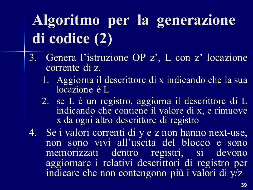 39 Algoritmo per la generazione di codice (2) 3.Genera listruzione OP z, L con z locazione corrente di z.