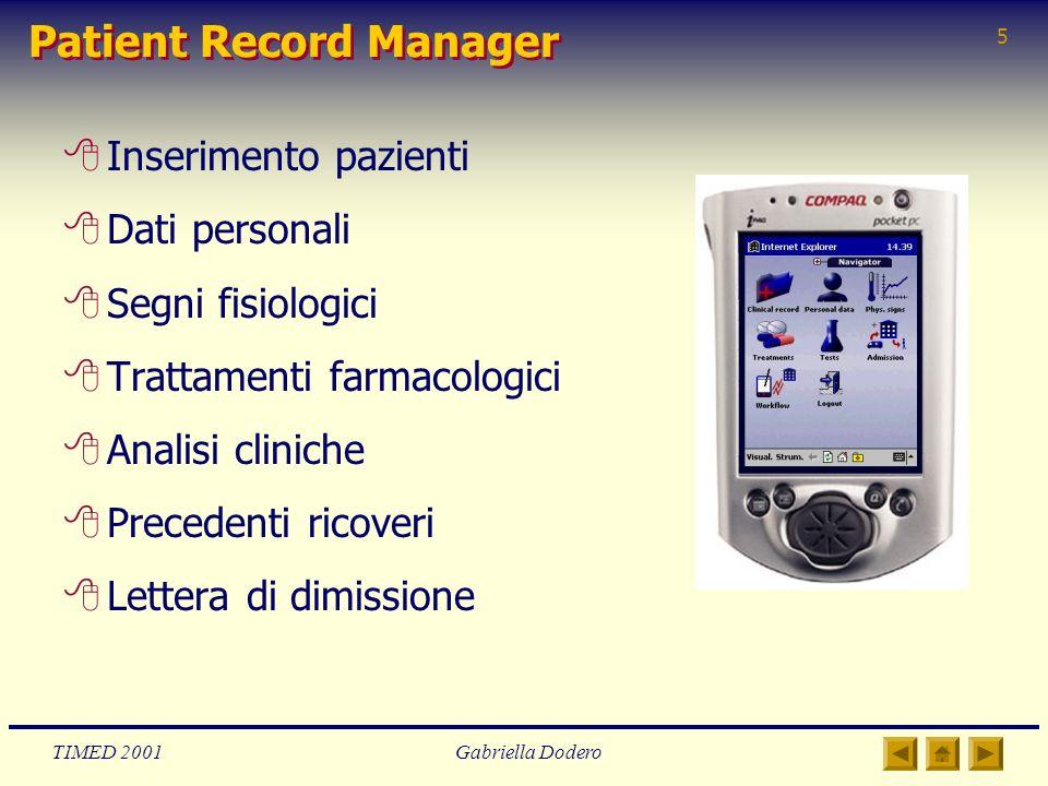 TIMED 2001Gabriella Dodero 5 Patient Record Manager 8Inserimento pazienti 8Dati personali 8Segni fisiologici 8Trattamenti farmacologici 8Analisi clini