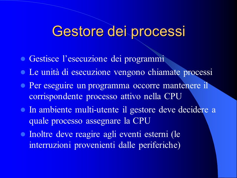 Gestore dei processi Gestisce lesecuzione dei programmi Le unità di esecuzione vengono chiamate processi Per eseguire un programma occorre mantenere i