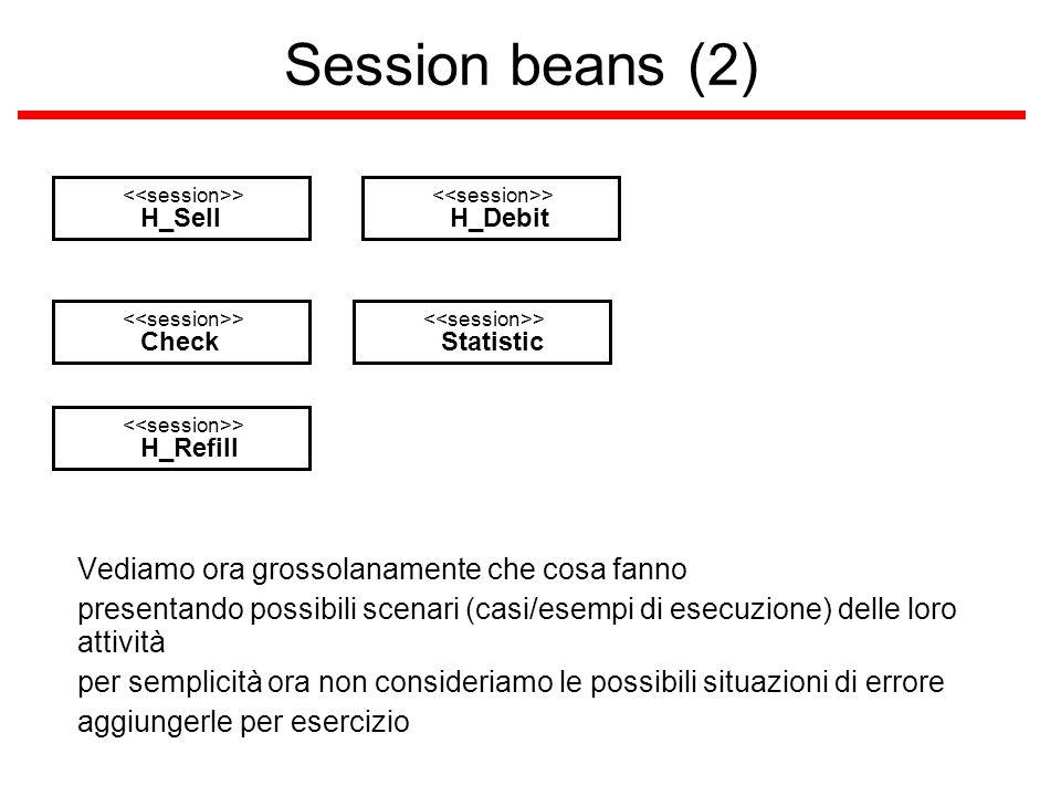 Session beans (2) H_Sell > H_Debit > Check > Statistic > H_Refill > Vediamo ora grossolanamente che cosa fanno presentando possibili scenari (casi/esempi di esecuzione) delle loro attività per semplicità ora non consideriamo le possibili situazioni di errore aggiungerle per esercizio
