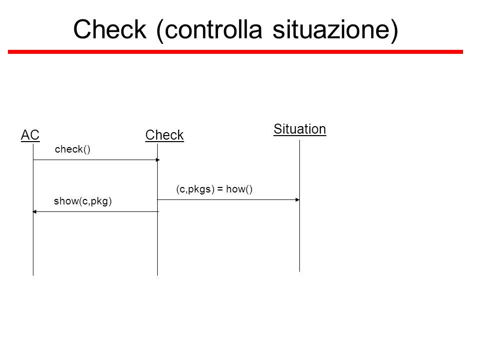 Check (controlla situazione) ACCheck check() Situation (c,pkgs) = how() show(c,pkg)