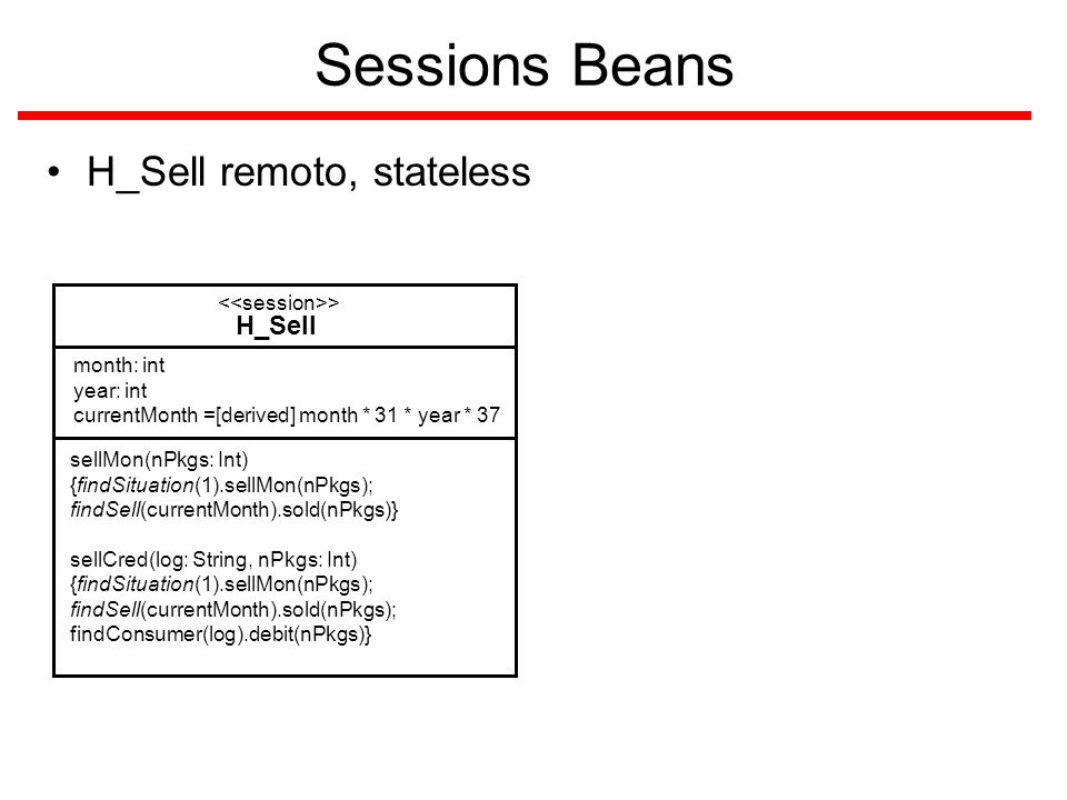 Sessions Beans H_Sell remoto, stateless H_Sell > sellMon(nPkgs: Int) {findSituation(1).sellMon(nPkgs); findSell(currentMonth).sold(nPkgs)} sellCred(log: String, nPkgs: Int) {findSituation(1).sellMon(nPkgs); findSell(currentMonth).sold(nPkgs); findConsumer(log).debit(nPkgs)} month: int year: int currentMonth =[derived] month * 31 * year * 37