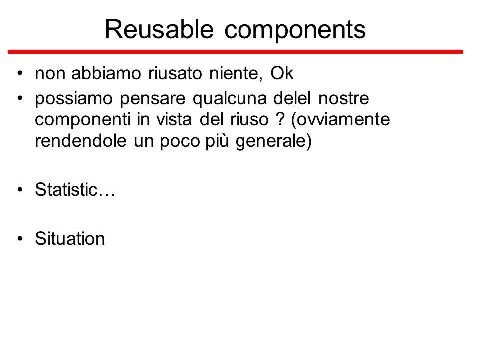 Reusable components non abbiamo riusato niente, Ok possiamo pensare qualcuna delel nostre componenti in vista del riuso .
