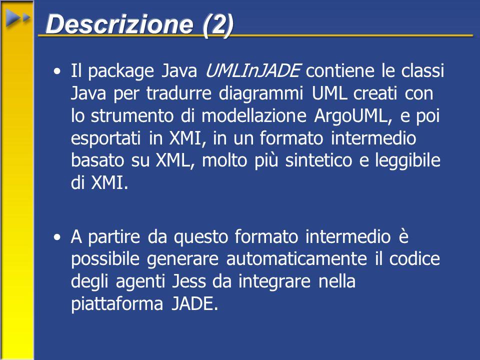 Il package Java UMLInJADE contiene le classi Java per tradurre diagrammi UML creati con lo strumento di modellazione ArgoUML, e poi esportati in XMI, in un formato intermedio basato su XML, molto più sintetico e leggibile di XMI.