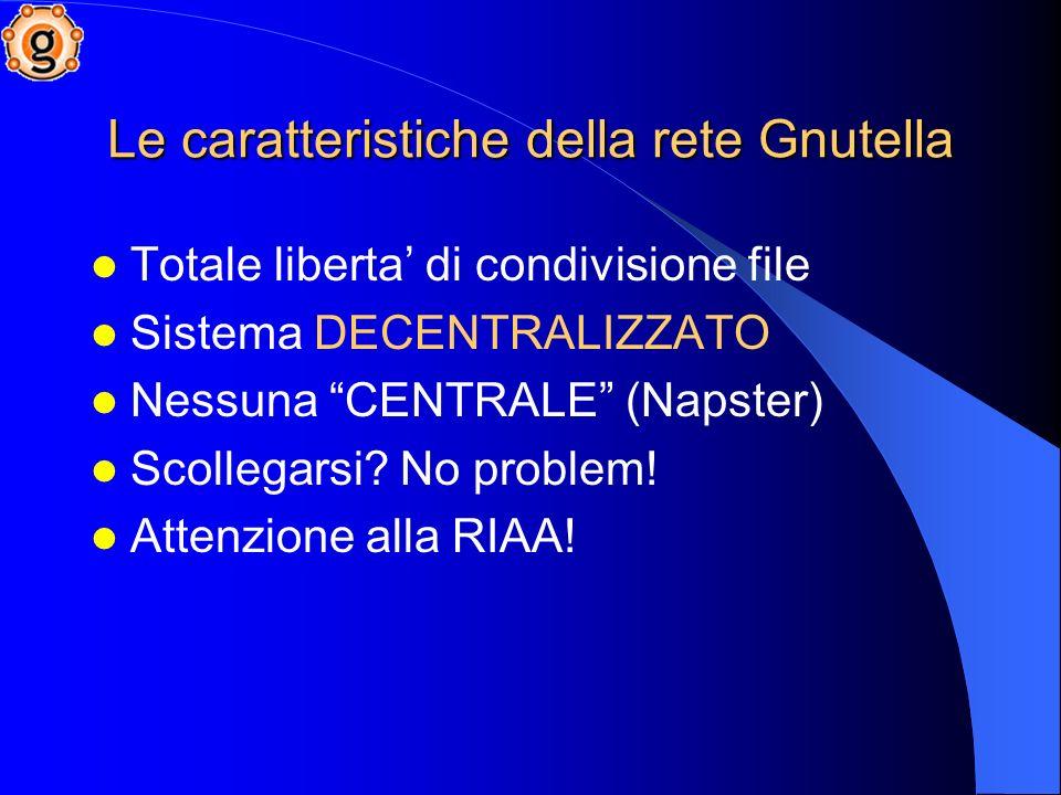 Le caratteristiche della rete Gnutella Totale liberta di condivisione file Sistema DECENTRALIZZATO Nessuna CENTRALE (Napster) Scollegarsi.