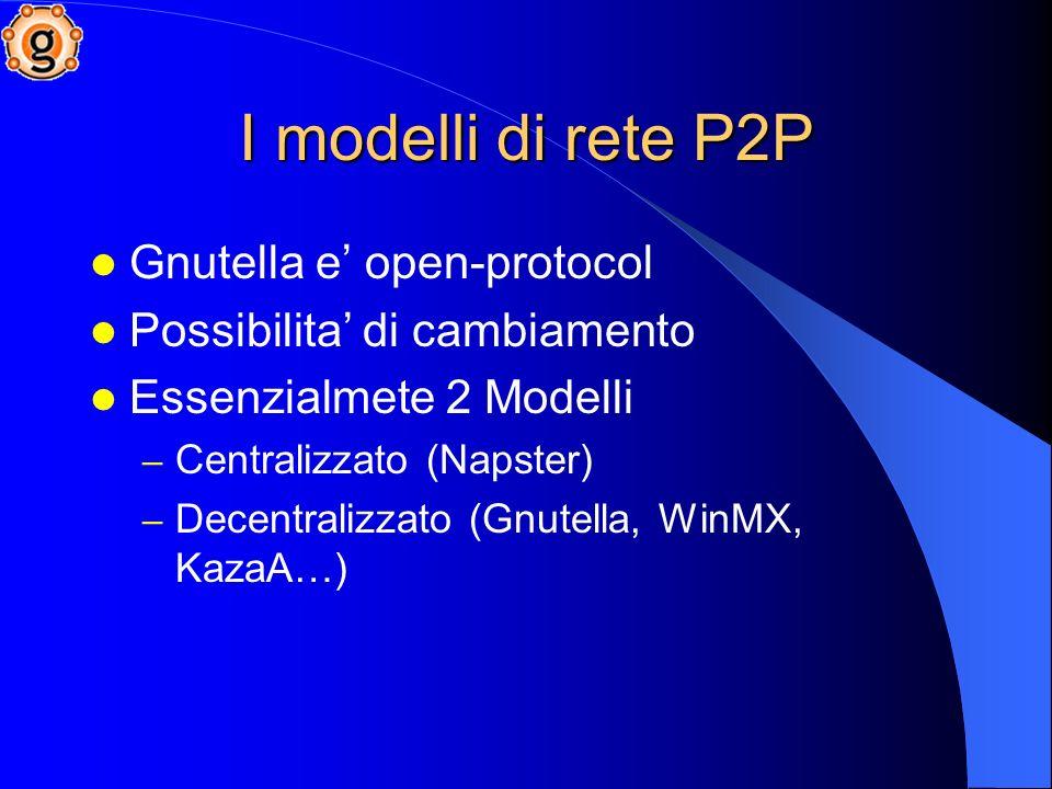 I modelli di rete P2P Gnutella e open-protocol Possibilita di cambiamento Essenzialmete 2 Modelli – Centralizzato (Napster) – Decentralizzato (Gnutella, WinMX, KazaA…)
