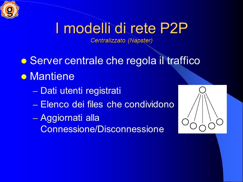 I modelli di rete P2P Centralizzato (Napster) Server centrale che regola il traffico Mantiene – Dati utenti registrati – Elenco dei files che condividono – Aggiornati alla Connessione/Disconnessione
