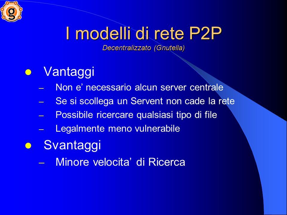 I modelli di rete P2P Decentralizzato (Gnutella) Vantaggi – Non e necessario alcun server centrale – Se si scollega un Servent non cade la rete – Possibile ricercare qualsiasi tipo di file – Legalmente meno vulnerabile Svantaggi – Minore velocita di Ricerca
