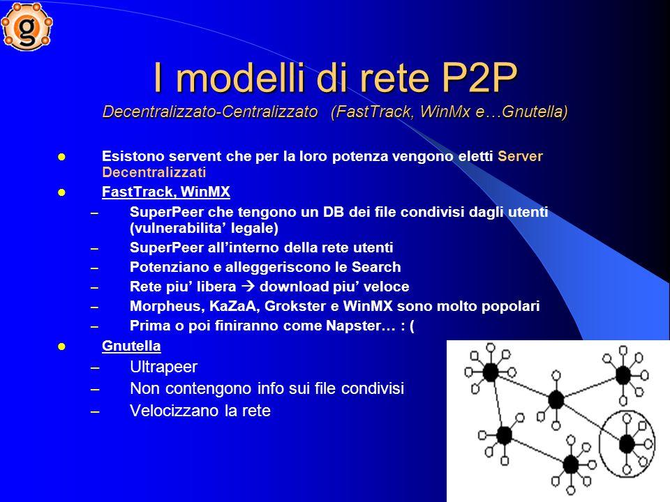 I modelli di rete P2P Decentralizzato-Centralizzato (FastTrack, WinMx e…Gnutella) Esistono servent che per la loro potenza vengono eletti Server Decentralizzati FastTrack, WinMX – SuperPeer che tengono un DB dei file condivisi dagli utenti (vulnerabilita legale) – SuperPeer allinterno della rete utenti – Potenziano e alleggeriscono le Search – Rete piu libera download piu veloce – Morpheus, KaZaA, Grokster e WinMX sono molto popolari – Prima o poi finiranno come Napster… : ( Gnutella – Ultrapeer – Non contengono info sui file condivisi – Velocizzano la rete
