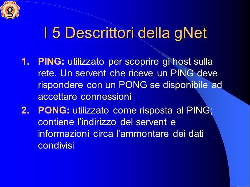 I 5 Descrittori della gNet 1.PING: utilizzato per scoprire gi host sulla rete.
