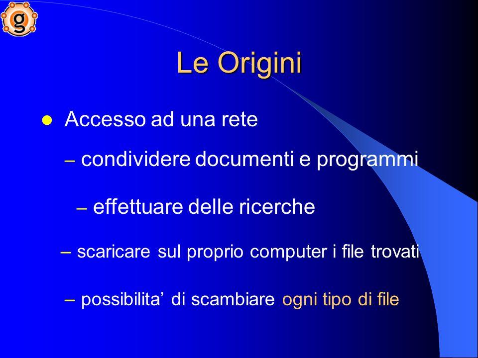 Le Origini Accesso ad una rete – condividere documenti e programmi – effettuare delle ricerche – scaricare sul proprio computer i file trovati – possibilita di scambiare ogni tipo di file