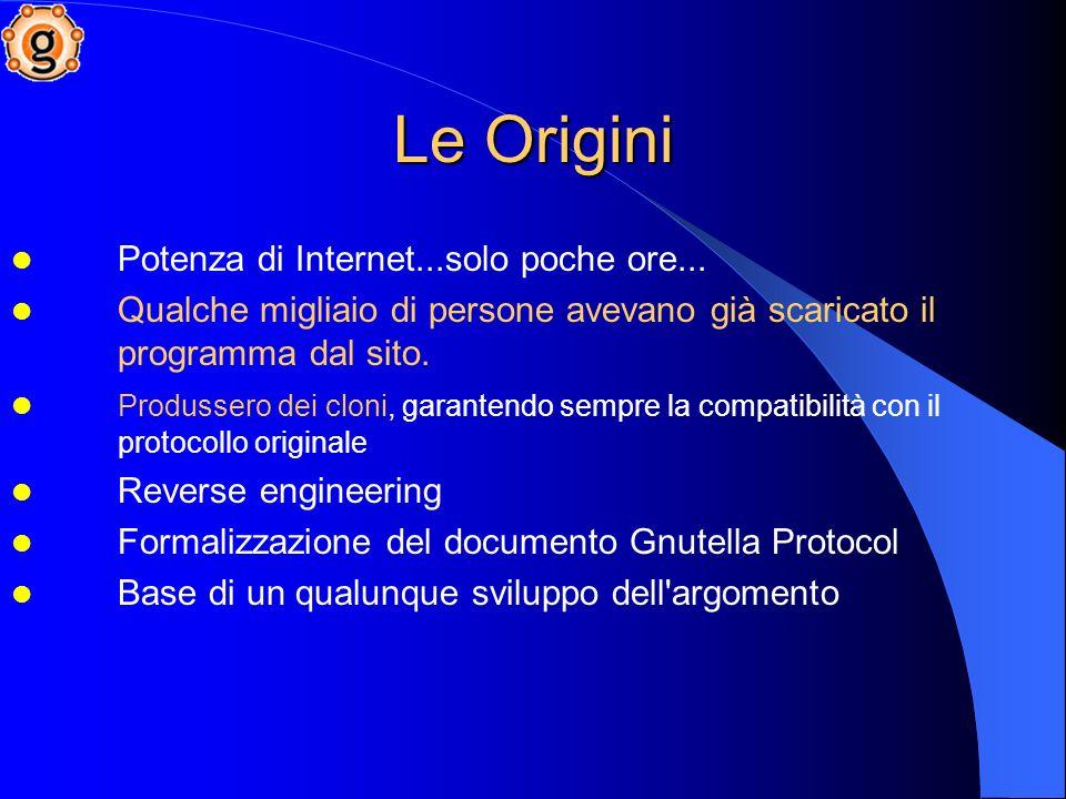 Largo utilizzo della comunità Internet Copie non autorizzate del software originale Natura DECENTRALIZZATA Rete stabile Le Origini