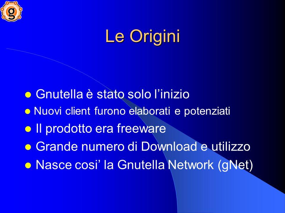 Gnutella è stato solo linizio Nuovi client furono elaborati e potenziati Il prodotto era freeware Grande numero di Download e utilizzo Nasce cosi la Gnutella Network (gNet) Le Origini