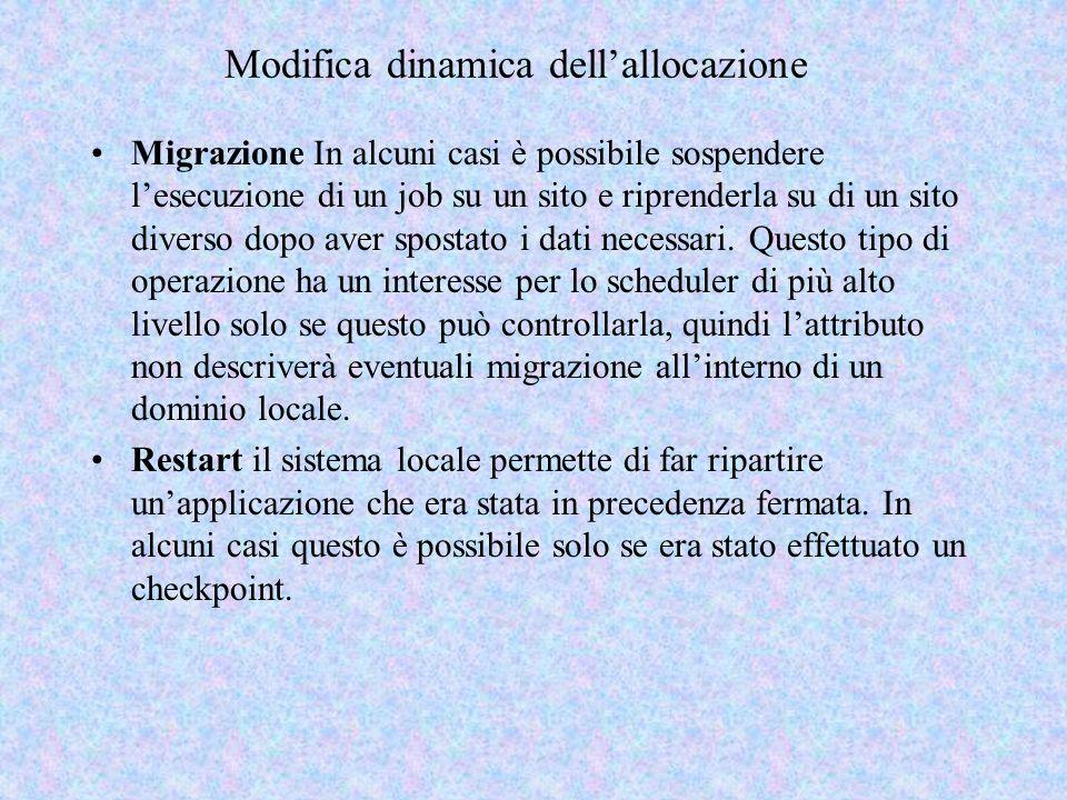 Modifica dinamica dellallocazione Migrazione In alcuni casi è possibile sospendere lesecuzione di un job su un sito e riprenderla su di un sito diverso dopo aver spostato i dati necessari.