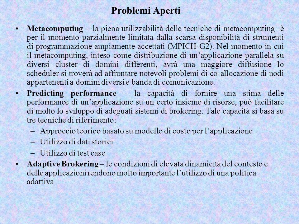 Problemi Aperti Metacomputing – la piena utilizzabilità delle tecniche di metacomputing è per il momento parzialmente limitata dalla scarsa disponibilità di strumenti di programmazione ampiamente accettati (MPICH-G2).