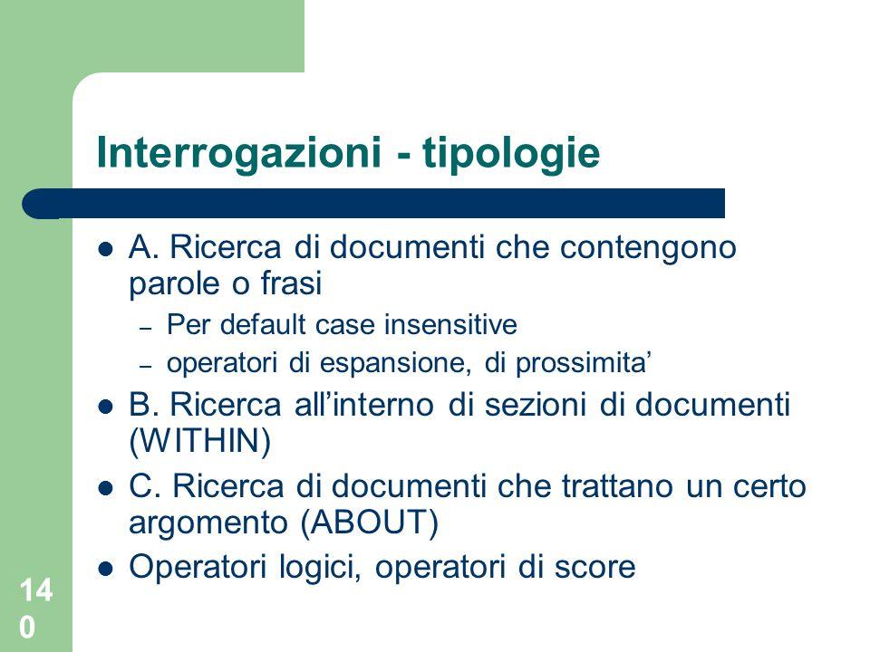 140 Interrogazioni - tipologie A.