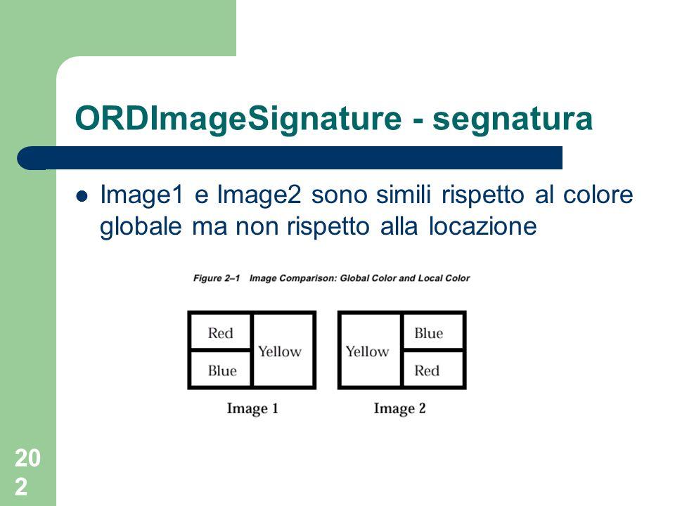 202 ORDImageSignature - segnatura Image1 e Image2 sono simili rispetto al colore globale ma non rispetto alla locazione