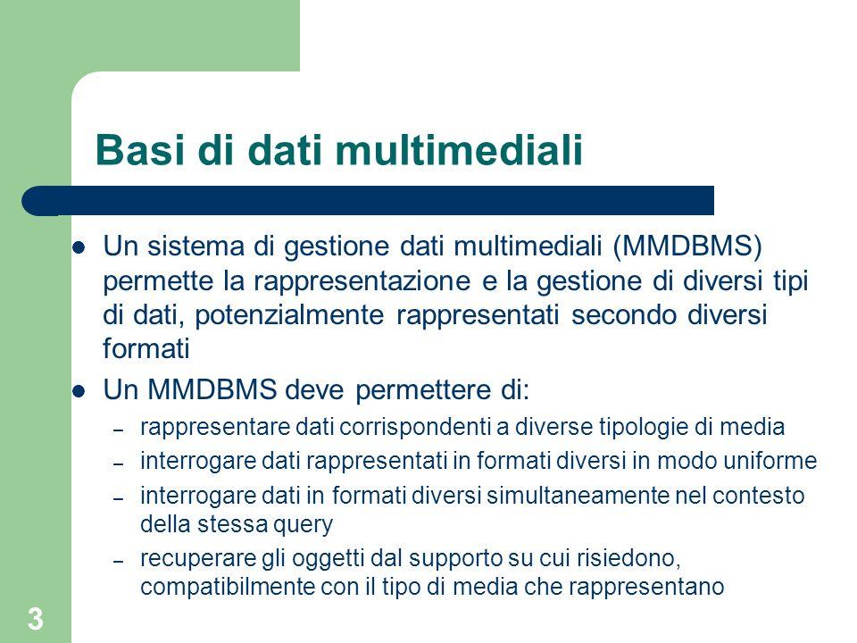 3 Basi di dati multimediali Un sistema di gestione dati multimediali (MMDBMS) permette la rappresentazione e la gestione di diversi tipi di dati, potenzialmente rappresentati secondo diversi formati Un MMDBMS deve permettere di: – rappresentare dati corrispondenti a diverse tipologie di media – interrogare dati rappresentati in formati diversi in modo uniforme – interrogare dati in formati diversi simultaneamente nel contesto della stessa query – recuperare gli oggetti dal supporto su cui risiedono, compatibilmente con il tipo di media che rappresentano